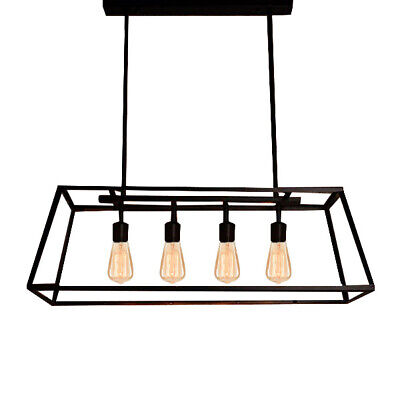 Vintage Retro Industrial Style 4 Head E27 Metal / Acrylic Box Pendant Home Light