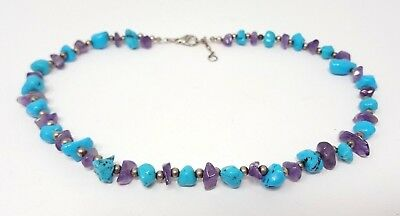 """Vintage Amethyst Turquoise Sterling Silver Beaded Necklace 17"""""""