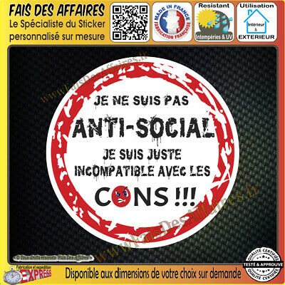 Stickers Autocollant adhésif anti-social humour tuning auto moto ipad decal