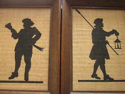 COLONIAL MINUTEMAN MILITIA ART KAY DEE LINEN HAND PRINTS FRAMED Lot of 2 Vintage