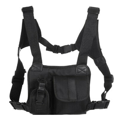 6X(Outdoor Vest Chest Rig Black Chest Front Pack Pouch Rig Carry For Two Wa W9F9
