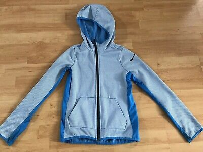 nike dri fit zip hoodie Girls M 10-12 Blue And White Striped With Pockets