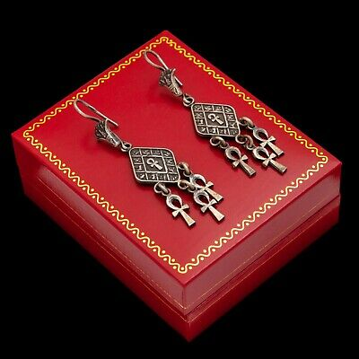 Antique Vintage Art Deco Sterling 800 Silver Egyptian Hieroglyphic Ankh Earrings
