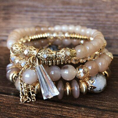 Multi-layer Boho Crystal Tassel Beaded Beads Bohemia Bracelets Bangle Set Women