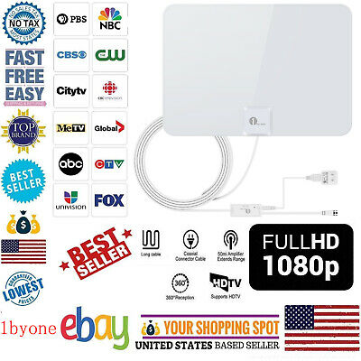 1byone TV Antenna 50Miles Digital Antena Indoor HD with Amplifier Signal Booster