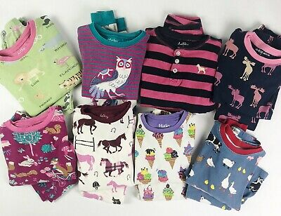 HATLEY LOT of 8 Pair PJ Pajama 2 Piece Girls Size 3 Horse Ice Cream Owl Zoo Farm