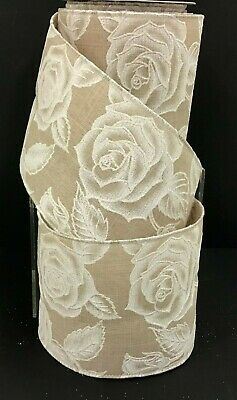 """Linen Rose Design Wired Ribbon~Natural, White~4"""" W x 10 yd"""