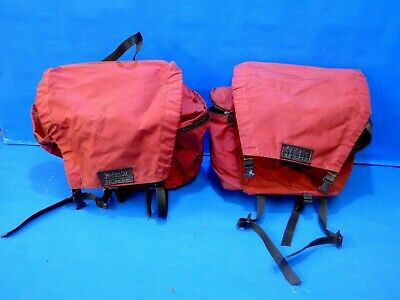 1980s Army Canvas Double Pannier Bag Green Bike Rear Seat Retro Military Classic