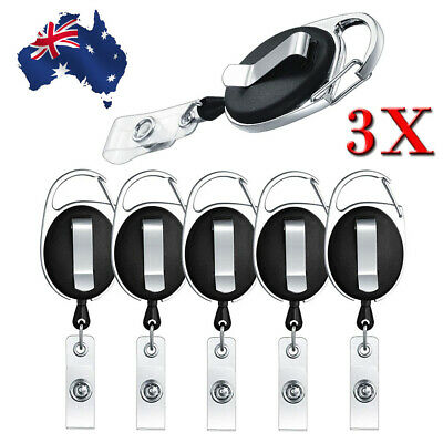 3Pack Retractable Reel Pull Key ID Card Badge Tag Clip Holder Carabiner Style