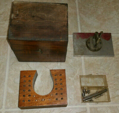 vtg STAKING Tool lot WATCH MAKER ANVIL stakes wood box kit punch jeweler