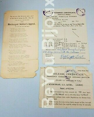 Ww2 Army Discharge Certificate Hospital Papers Essex Regt