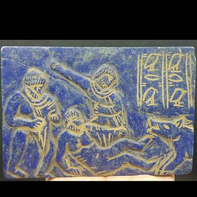 Ancient Lapis Lazuli Big Stone With Wolf Attack Engraved stone & Signs  # 26