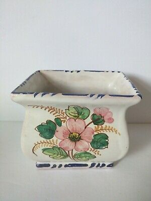 Nice vintage small italian hand painted planter with vibrant flowers