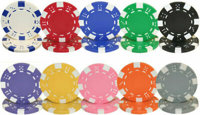 Striped Dice 11.5g Clay Poker Chips Sample Set New - 10 Colors