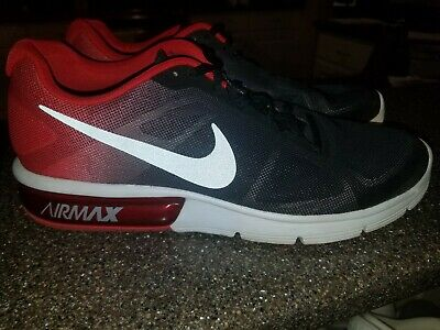 a9f7a1b90a Nike Air Max 10.5 Sequent Black Red Grey Mens Running Shoes SNEAKERS  719912-008