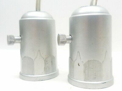 Pair Antique VTG Art Deco Painted Bakelite Lamp Light Sockets Silver I.S. RARE