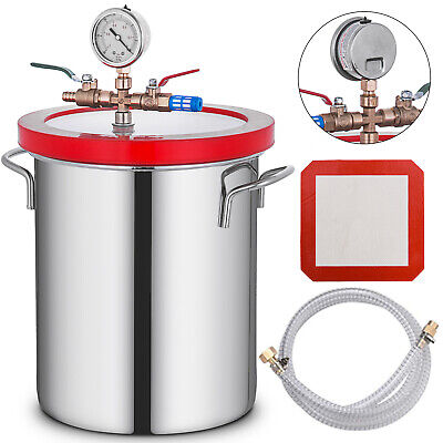3 Gal 12L Vacuum Chamber Stainless Steel Silicone gasket Stabilize Degassing