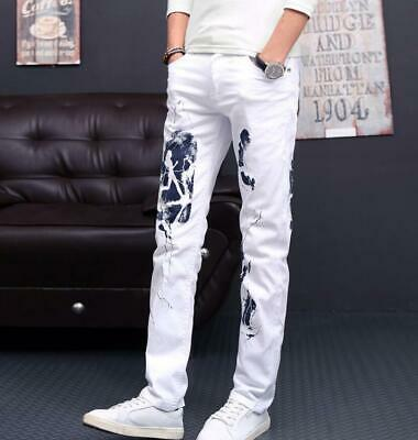 Men Printed Jeans Pants Washed Denim Trousers Ripped Boys Hip Hop Trousers Sbox4
