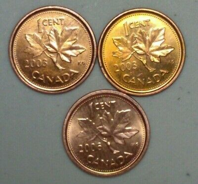 2003 & 2006  Magnetic Canada 1 Cent Penny  Variety Lot #18