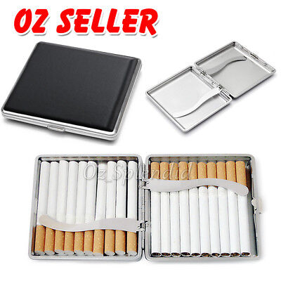 PU+Stainless  Steel Cigarette Box Tobacco Cigar Case Pocket Pouch Thin Storage