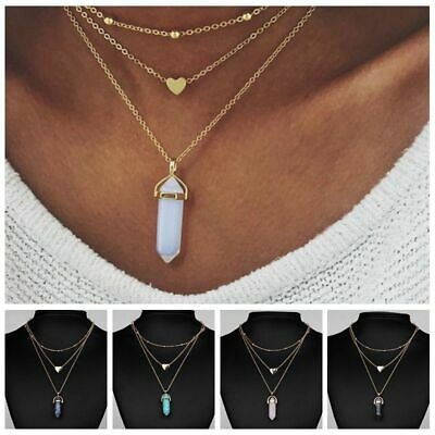 Women Choker Jewelry 3 Layer Boho Necklace Crystal Pendant Natural Stone Opal