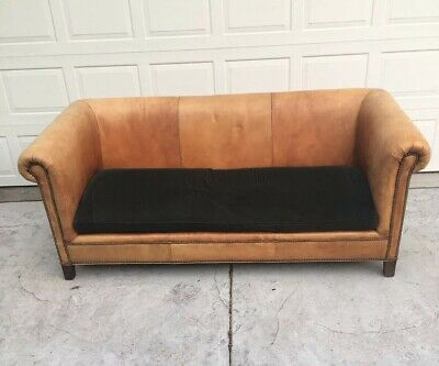 Vintage Ralph Lauren Brompton Henredon Brown Heritage Leather Sofa