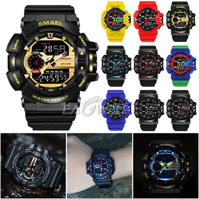 SMAEL 50M Waterproof S Shock Military Sports Men's LED Analogue / Digital Watch