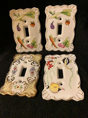 4 Porcelain Switch Plate Cover Enterprise Exclusive Made in Japan ESD Stamped.