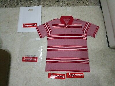 Supreme Heather Stripe Polo Dark Red Medium SS17 Week 6 New in bag + stickers