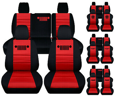front+back car seat covers blk-red w/punisher,bear claw fits JK wrangler 4dr