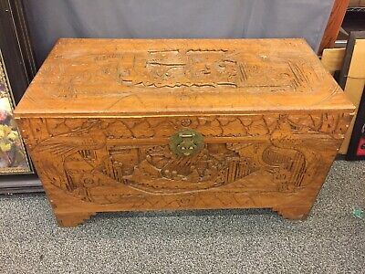 Vintage Oriental Wood Trunk Chest Hand Carved Asian Chinese Phoenix Antique