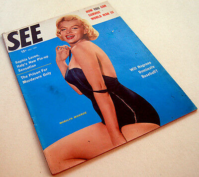 1955 Fine MARILYN MONROE Magazine FRONT COVER & PHOTO Bathing suit PIN UP