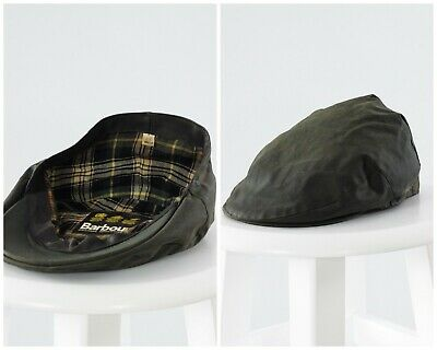 Vintage Mens BARBOUR Waxed Flat Cap Hat Green Cabbie Newsboy ONE SIZE
