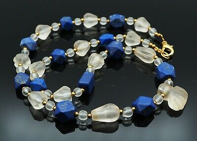 Antique Old Crystal Carved Dahlia Flower Cat Paw Shape RARE! Lapis Bead Necklace