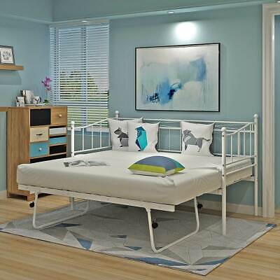 2ft6/3ft Single Metal Day Bed Guest Bed with Pull out Trundle Stylish Bedroom