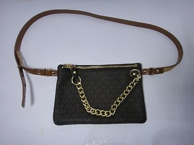 0f522f57ae24 MICHAEL Kors MK Logo fanny pack Belt Bag w/pull chain Brown SIZE XL DEFECT