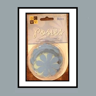 Die Cuts With A View ~ 50 Posies ~ Textured Cardstock Flowers ~ Blue