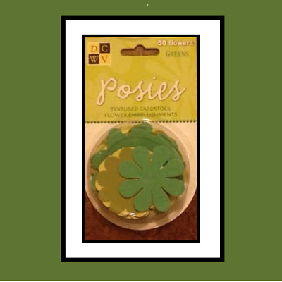 Die Cuts With A View ~ 50 Posies ~ Textured Cardstock Flowers ~ Green