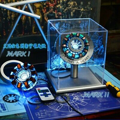 1:1 Iron Man LED Light ARC Reactor MK1 Tony Stark Heart DIY Model Hit Figure Toy