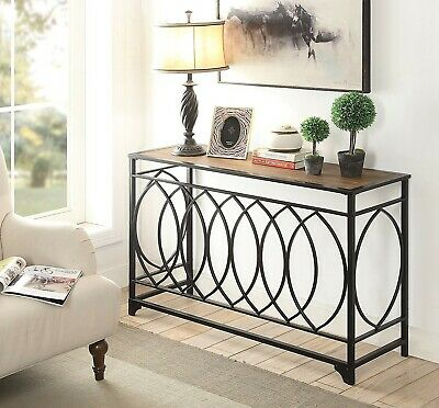 Rustic Console Table Furniture Accent Entryway Hallway Metal Sofa Reclaimed Oak