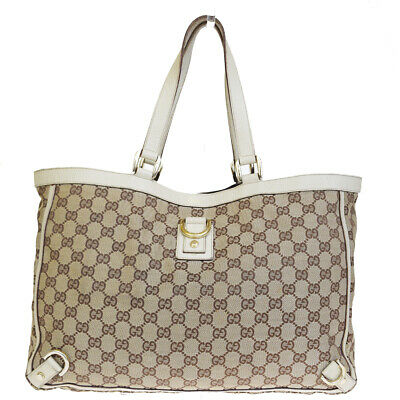 71e7ba9868457b Authentic GUCCI GG Pattern Shoulder Tote Bag Canvas Leather Brown Italy  05ER568