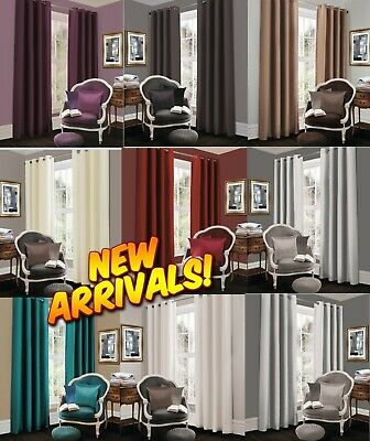 High Quality Fully Lined Solar Ring Top Thermal Blackout Pair Eyelet Curtains