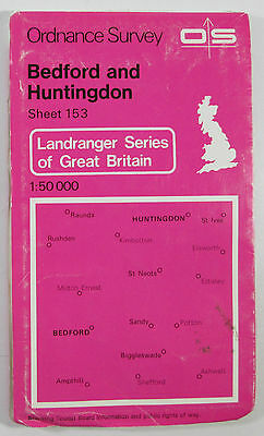 1981 old OS Ordnance Survey 1:50000 Landranger Map 153 Bedford & Huntingdon