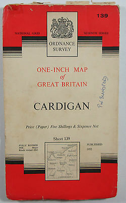 1963 Old Vintage OS Ordnance Survey One-Inch Seventh Series Map 139 Cardigan