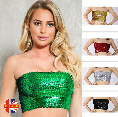 Sequin Bandea Boob Tube Crop Top Festival Dance Rave Hen Night Ladies Girls