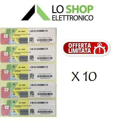 10 x LICENZA WINDOWS 10 PRO PROFESSIONAL 32/64BIT LABEL STICKER COA PRODUCT KEY