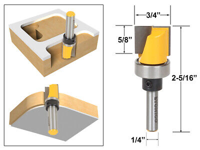 "3/4"" Diameter Flush Trim Template Router Bit - 1/4"" Shank - Yonico 14172q"