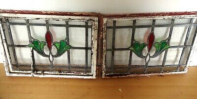 Lovely Vintage Set Of Eight Metal Framed Lead Lined Stain Glass Windows Opening
