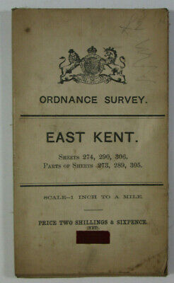 1909 Old Antique OS Ordnance Survey One-inch Map East Kent 274 290 306 part 273