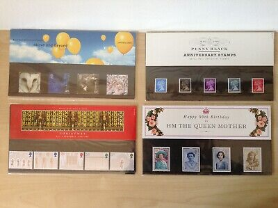 Collection Of 4 UK Royal Mail Stamp Sets. Mint. Penny Black,Ely,Queen Mum,Y2000.